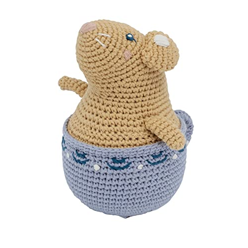 Sebra - Stehaufmännchen - Buttercup die Maus - Baumwolle - gelb / lila - Höhe 15 cm