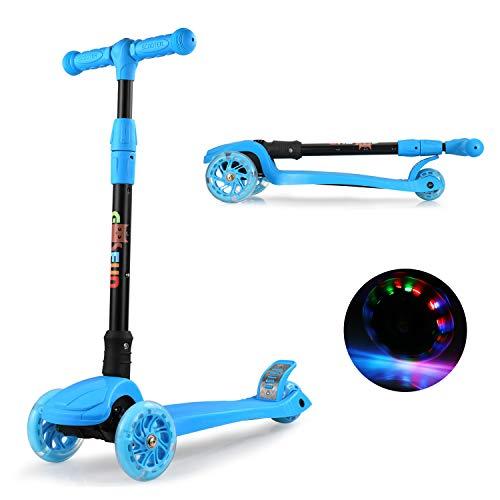 GOSFUN Kinderroller Faltbar mit 3 PU LED Leuchtenden Rädern, Kinderscooter ab 3-12 Jahre, 4 Stufen...