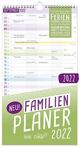 FamilienPlaner 2022 mit 5 Spalten, 22,5 x 42 cm, Wandkalender Jan - Dez 2022 | Familienkalender...