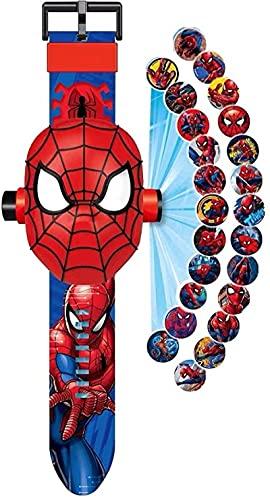 ZHUZE Spiderman-Armbanduhr mit 24 Figuren, Superhelden, Spiderman-Man, Elektronische Armbanduhr für...