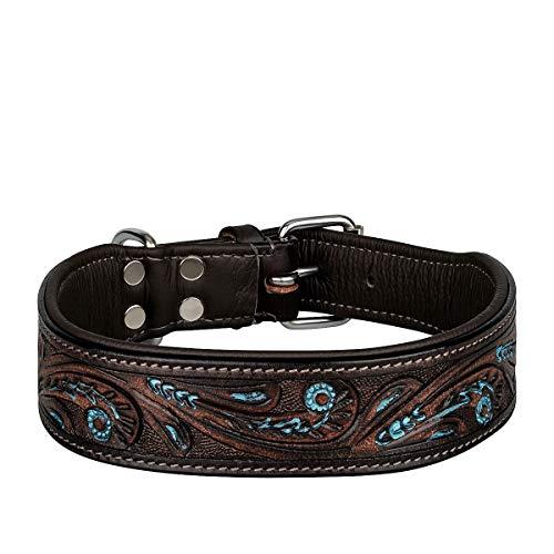 MICHUR Luis Hundehalsband Leder, Lederhalsband Hund, Halsband, Braun mit blauen Akzenten und schönem...