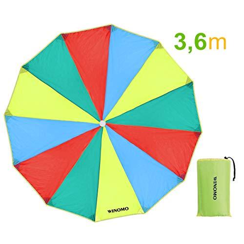 WINOMO Schwungtuch mit 12 Griffe für Kinder und Familie, Game Schwungtücher Regenbogen Fallschirm...
