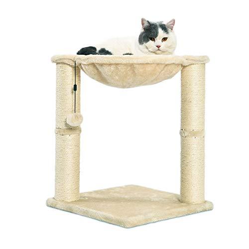 Amazon Basics – Katzen-Kratzbaum mit Haus, Hängematte, Bett und Kratzstamm, 41 x 51 x 41 cm, beige