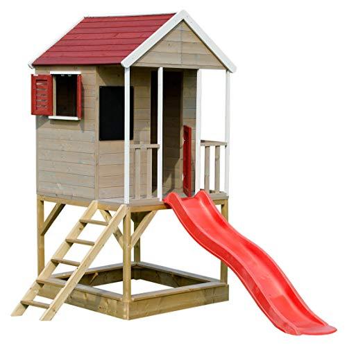 Wendi Toys M7 Spielturm mit Rutsche | Multifunktionales Holzhaus Kinder | Einfach zu montieren und zu...