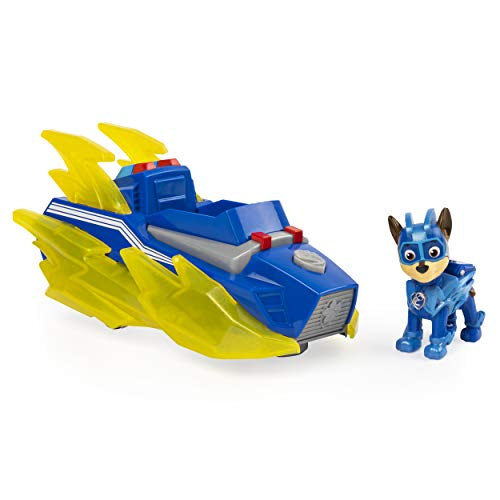 PAW PATROL 6056840 Chase's Vehicle with Lights and Sounds Mighty Pups Charged Up Chase Deluxe Fahrzeug...