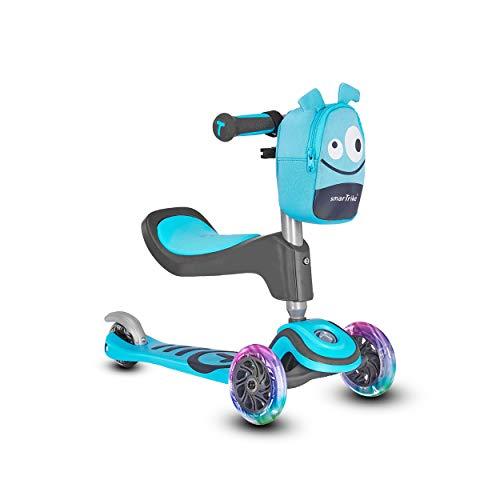 Scooter by smarTrike T1 Kinderscooter mit Sitz, Leuchträder und Snacktasche Scooter - Kinderroller, blau...