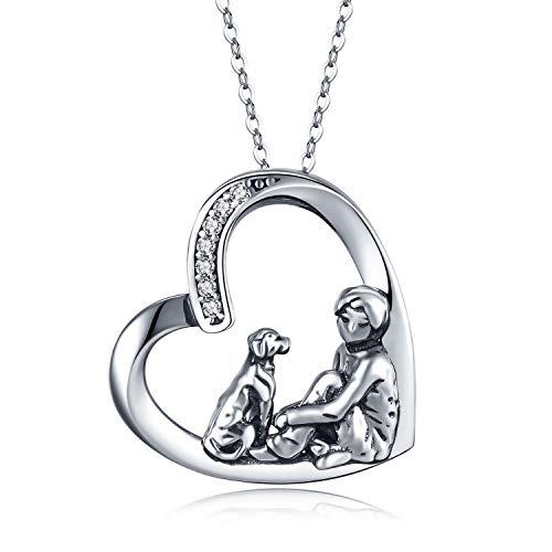 Kette Hund, Halskette mit Hund Hunde Herz Kette Hund und Mensch Anhänger Geschenke Hunde Schmuck für...