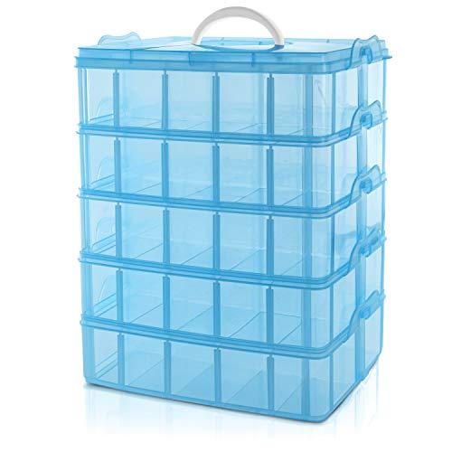 BELLE VOUS 5 Ebenen Blaue Sortierboxen für Kleinteile mit 50 verstellbaren Fächern -Organizer...
