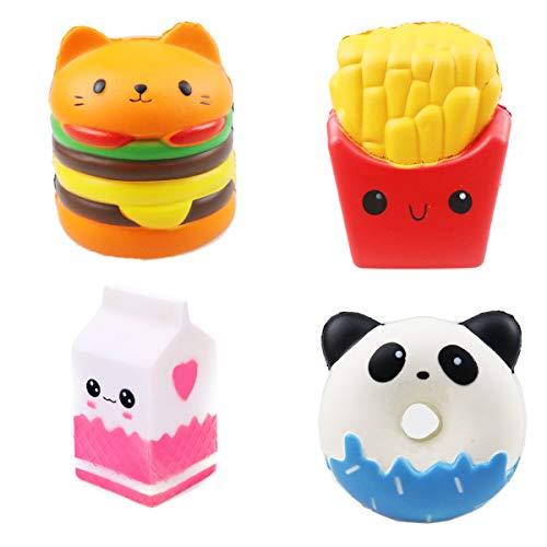 ZYDTRIP 4 Stück Squishy Spielzeug Niedliche Squishies Spielzeug Set Kawaii Party Geschenke Langsam...