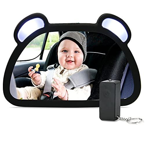 LED Rücksitzspiegel für Babys, Unipampa Spiegel Auto Baby, Auto Rückspiegel für Kindersitz und...