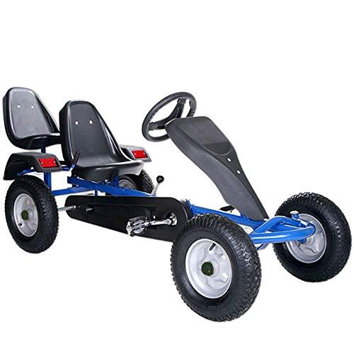 ArtSport 2-Sitzer Gokart mit Schalensitz, Luftreifen, Stahlfelgen & Freilauf | blau | Kinder Tretauto...