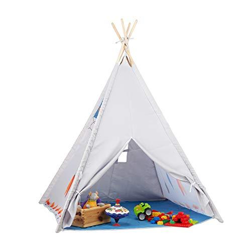 Relaxdays 10022461 Tipi Spielzelt, Tipi Zelt Kinderzimmer, Kinderzelt Drinnen und Draußen, ab 3, HxBxT:...