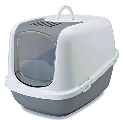 XXL Katzentoilette NESTOR JUMBO weiss-grau speziell für große Katzenrassen