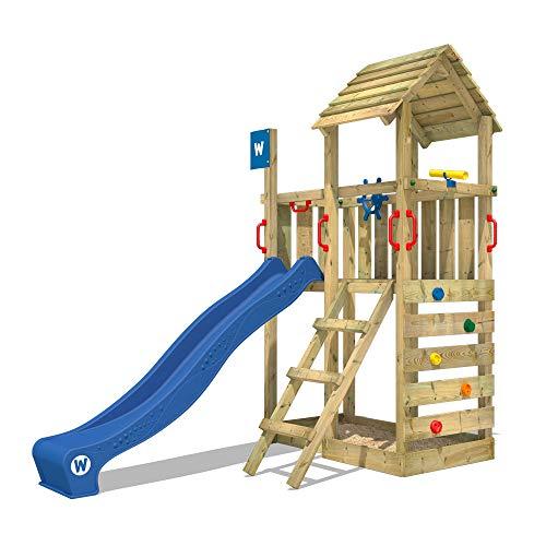 WICKEY Spielturm Klettergerüst Smart Flash mit blauer Rutsche, Kletterturm mit Sandkasten, Leiter &...