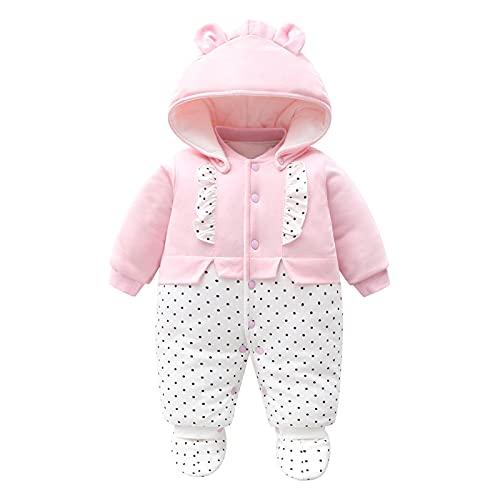Baby Mädchen Strampler Winter Schneeanzug mit Kapuze Overall Baumwolle Abnehmbarer Hut Outfits Langarm...