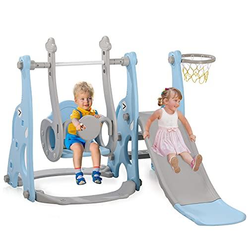 4-in-1 Kleinkinderrutsche und Schaukel, Spielset mit Basketballkorb, extra lange Rutsche, einfach...