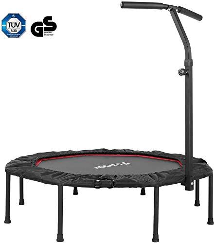femor Fitness-Trampolin, Trampolin faltbar, Ø101.6cm, 3-Fach höhenverstellbarer Haltegriff Jumping...
