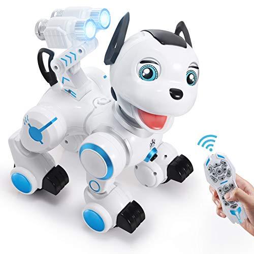 ANTAPRCIS Ferngesteuert Hund Roboter Spielzeug, Intelligent RC Hund mit Licht und Musik, Programmierbar...