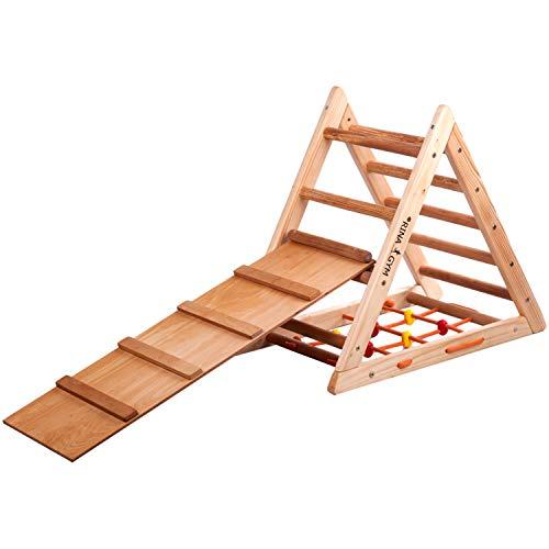 RINAGYM Kletterdreieck für Kinder - Klettergerüst aus Holz - Leiter, doppelseitige Rutsche, Spielnetz -...