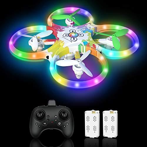 Drohne für Kinder Bunte LED-Lichter Leuchten Nacht RC Quadrocopter 2 Akkus für 18 Minuten mit 5...