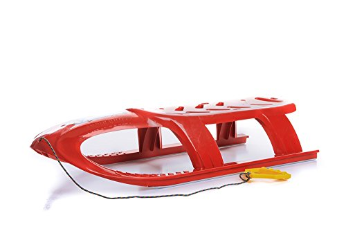 Unbekannt Schlitten Kinderschlitten Rodel aus Kunststoff Zugseil Metallkufen Bullet 3 Farben (Rot)