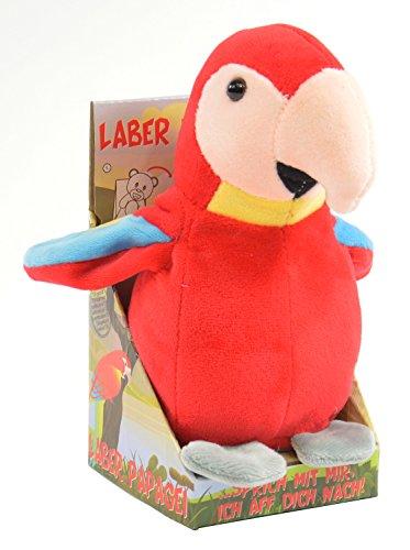 Kögler 75631 - Labertier Papagei Paul, ca. 17,5 cm groß, nachsprechendes Plüschtier mit Aufnahme- und...