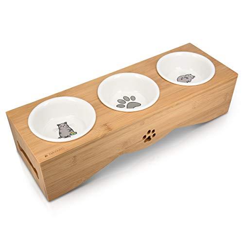 Navaris Futterstation für Katzen und Hunde - Futternapf Set aus Keramik - erhöhter 3er Napf Ständer -...