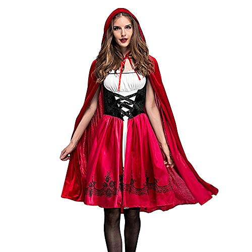 Calvinbi Rotkäppchen Kostüm Set Damen fur Halloween Party Ball Karneval Kostüme Cosplay Midi Dirndl...