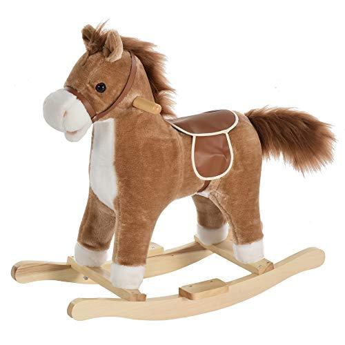 HOMCOM Kinder Schaukelpferd Baby Schaukeltier Pferd mit Tiergeräusche Spielzeug Haltegriffe für 36-72...