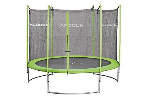 HUDORA Family Trampolin 300 cm, grün/schwarz - Garten-Trampolin mit Sicherheitsnetz, Leiter und...