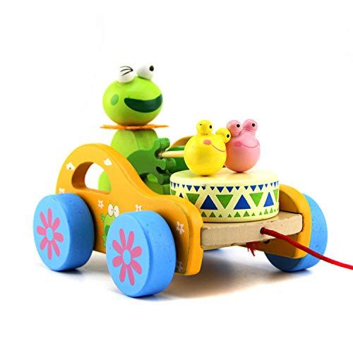 FakeFace Baby Trommel Frosch Spielzeug Nachziehtier aus Holz, Auto mit Rad Push und Pull Spielzeug...