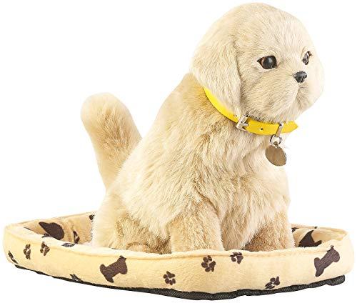 infactory Spielzeughund: Funktions-Plüschhund mit Hundekorb, Bewegungs- und Berührungssensor...