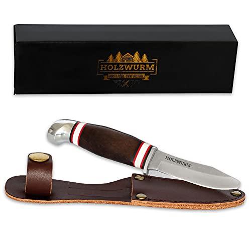 HOLZWURM Kinder-Schnitzmesser in Leder-Tasche, ideales Taschenmesser und Outdoormesser für Kinder zum...