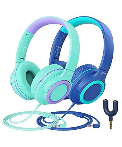 iClever Kinder Kopfhörer mit Mikrofon [2 Pack]- 94dB Safe Volume Limited - Wired Kopfhörer für Kinder...