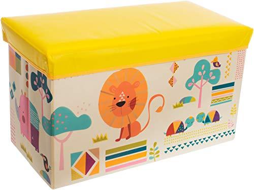 Bieco Aufbewahrungsbox mit Deckel Kinder Zoos, faltbar, Sitzhocker mit Sitzgelegenheit, und Polsterung,...