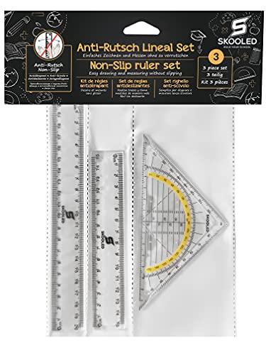 Anti-Rutsch Lineal und Geodreieck 3 in 1 Set rutschfestes Set zum sicheren und einfachen Zeichnen und...