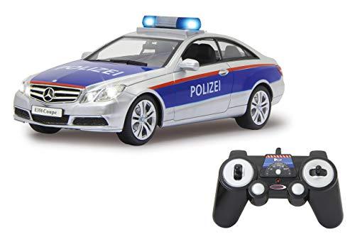 JAMARA 405126 - Mercedes-Benz E 350 Coupe Polizei Silber/rot 1:16 2,4G-deutsche Sirene, Alarmanlage,...