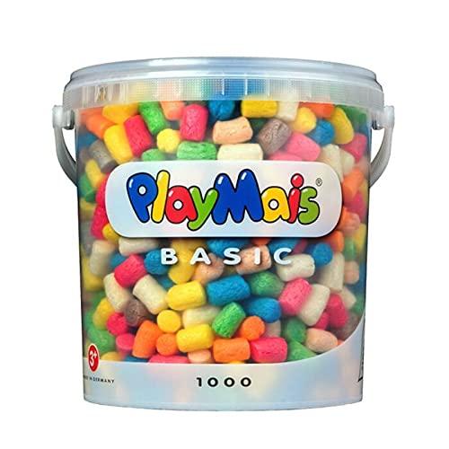 PlayMais Basic 1000 Bastelset für Kinder ab 3 Jahren | Basteleimer mit über 1000 Stück zum Basteln |...