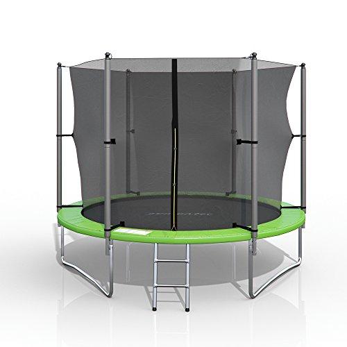 gympatec XXL Trampolin Gartentrampolin Komplettset mit Netz innenliegend Leiter Erdanker Spanngurte (305...