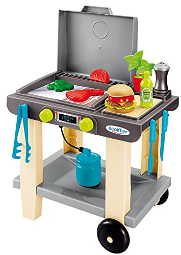 Ecoiffier – Grill für Kinder – 23-teiliger Spielzeug-Grill, mit Burger, Grillzange, Fleisch und...