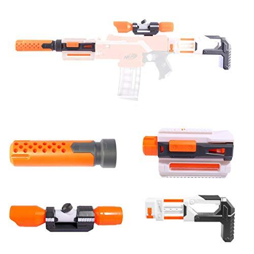 Upgrade Zubehör Set für Nerf, Zielfernrohr+Entstörung+Guide Rail Adapter+Gewehrkolben für...