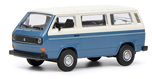 Schuco 452017200 VW T3 Bus 1:64 452017200-VW, blau/weiß, Modellauto, Modellfahrzeug