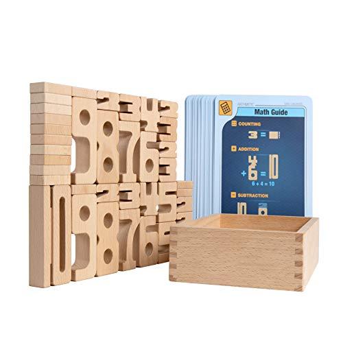 SumBlox Mini (Starter Set) - 38 Mini Holz Bausteine aus massiver Buche - Premium Zahlenbausteine...