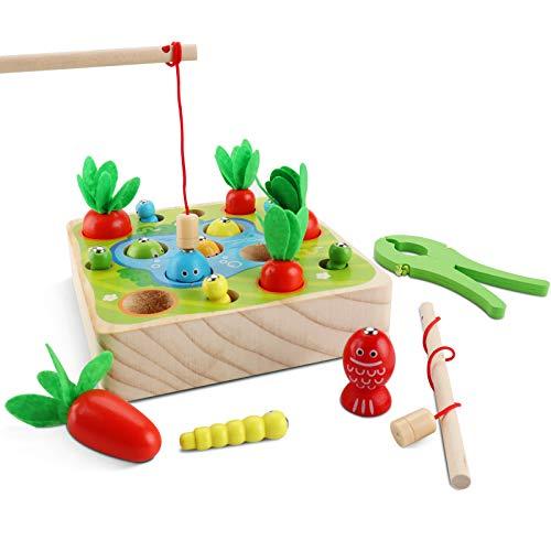 Jooheli 3 in 1 Angelspiel Holz Kinder, Holzspielzeug Montessori Spielzeug, Sortierspiel Holz für Kinder...