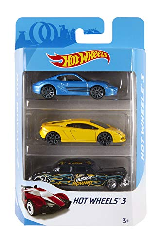 Hot Wheels K5904 3er Pack 1:64 Die-Cast Fahrzeuge Geschenkset, je 3 Spielzeugautos, zufällige Auswahl,...