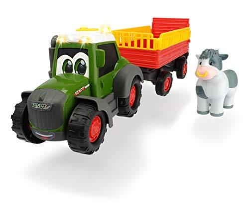 Dickie Toys ABC Fendt Animal Trailer, Traktor für Kinder ab 1 Jahr, Trecker mit Tieranhänger, Bauernhof...