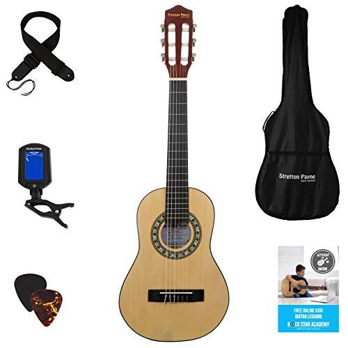 1/4 Kindergitarre inkl. Onlinegitarrenkurs, Rucksackgurt, digitales Stimmgerät und Plektren