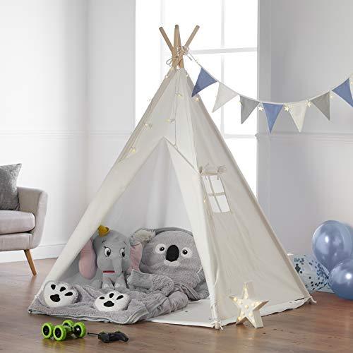 Haus Projekt Tipi Zelt Für Kinder mit Zubehör, Lichterkette, Wimpelkette, Aufbewahrungstasche &...