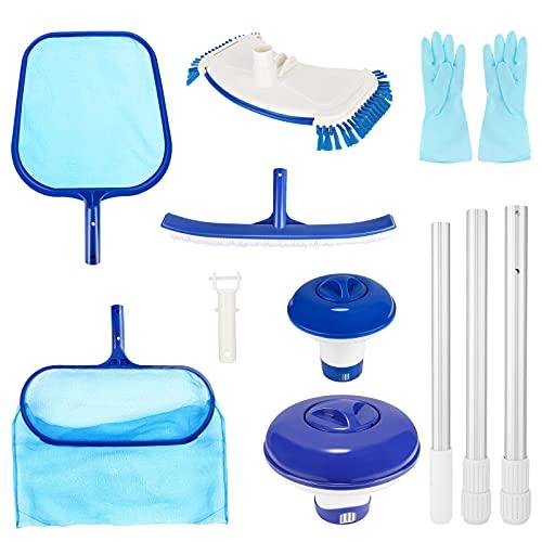 Aiglam Pool Reinigungsset, 7 PCS Pool Zubehör Aufsatz Set zur, Pool Kescher Netz mit Kescher Netz,...