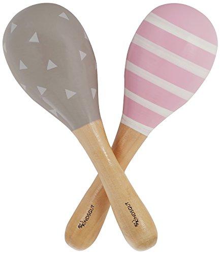 Kindsgut Rasseln aus Holz, 2er Set Musik Instrument für Babys und Klein-Kinder, ideal für unterwegs,...